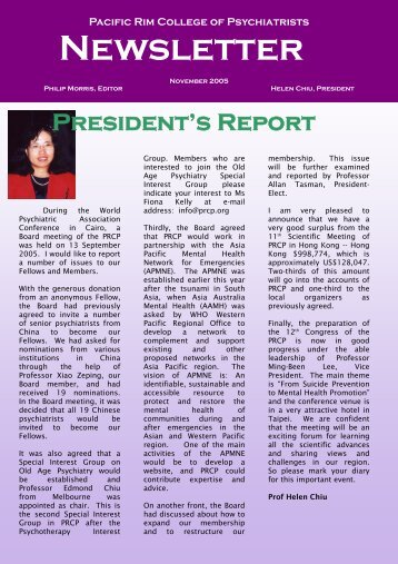 Newsletter November 2005 - PRCP - Pacific Rim College of Psychiatry