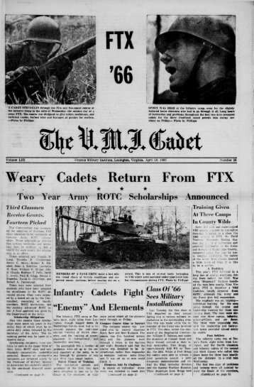 The Cadet. VMI Newspaper. April 29, 1966 - New Page 1 [www2.vmi ...
