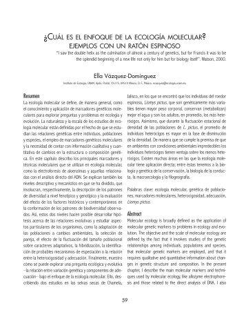 ¿cuál es el enfoque de la ecología molecular? ejemplos con un ...