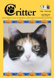 animal adoption, rescue and education in ... - Critter Magazine