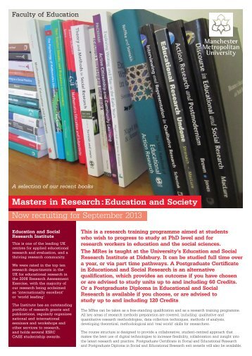 MRes Flyer - Education & Social Research Institute - Manchester ...