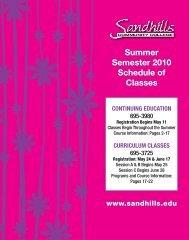 Summer Semester 2010 Schedule of Classes - Sandhills ...