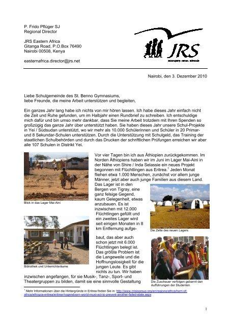 P. Frido Pflüger SJ Regional Director JRS Eastern ... - Jesuitenmission