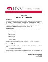 Subject-Verb Agreement - College of Education
