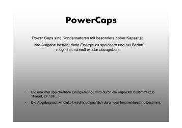 Kondensatoren / Powercaps richtig anschließen