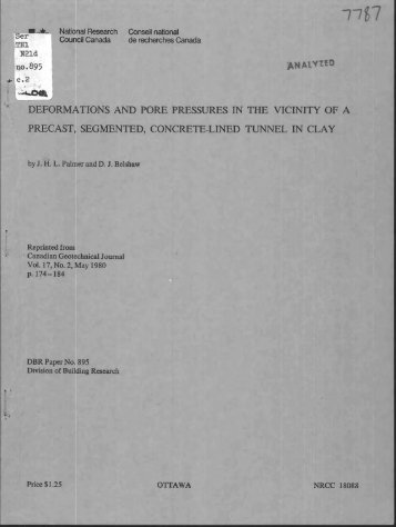 Deformations and pore pressures in the vicinity of a precast ...