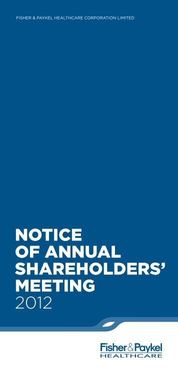 NOTICE OF ANNUAL SHAREHOLDERS' MEETING 2012