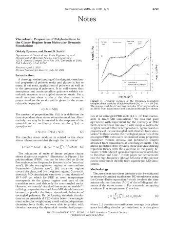 Viscoelastic Properties of Polybutadiene in the Glassy Regime from ...
