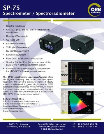 Specifications - Orb Optronix