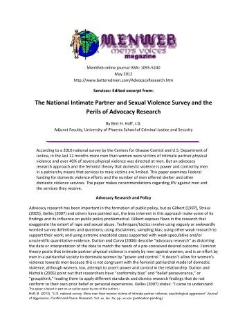 The National Intimate Partner and Sexual Violence ... - Battered Men
