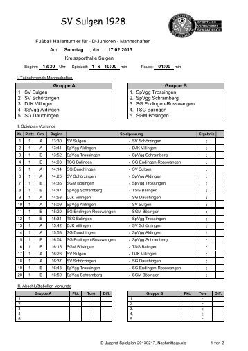 Spielplan - TSG Balingen