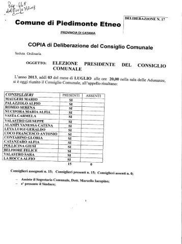 elezione del Presidente del Consiglio Comunale - Comune di ...