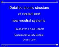 Detailed atomic structure of neutral and near-neutral systems