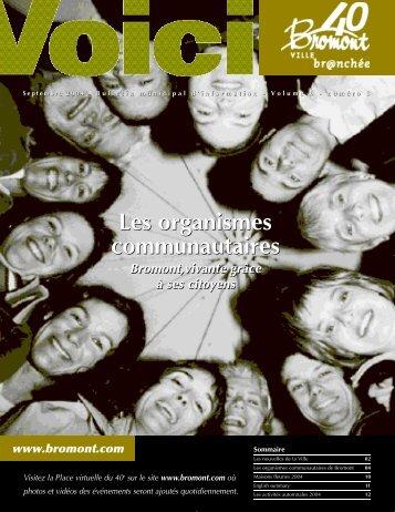 Les organismes communautaires Les organismes ... - Ville de Bromont