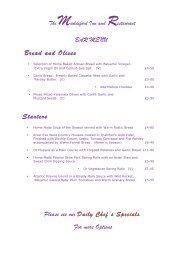 Muddiford Inn Bar Menu - Restaurants in Devon
