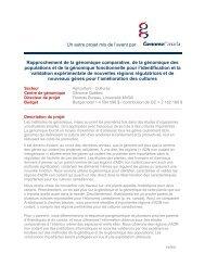Résumé des projets - Genome Canada