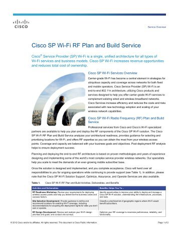 Cisco SP Wi-Fi RF Plan and Build Service - Cisco Systems, Inc