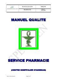 MANUEL QUALITE SERVICE PHARMACIE SERVICE ... - ADIPh