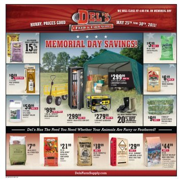 we will close at 4:00 p.m. on memorial day - Del's - Feed And Farm ...