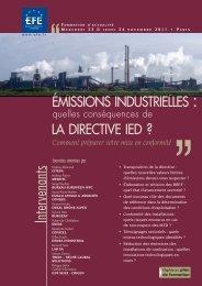 ÉMISSIONS INDUSTRIELLES : LA DIRECTIVE IED ? - Editions - Efe