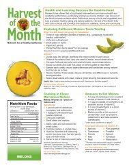 Nutrition Facts - Harvest of the Month