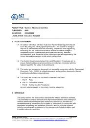 Outdoor Adventure Activities Policy - Education and Training ...