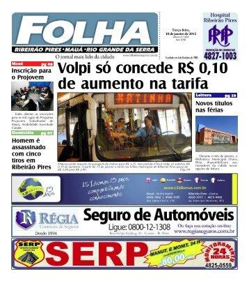 Volpi só concede R$ 0,10 de aumento na tarifa - Folha Ribeirão Pires