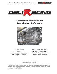 Stainless Steel Hose Kit Installation Reference - Dali Racing