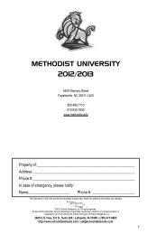to download the 2012-2013 Student - Methodist University