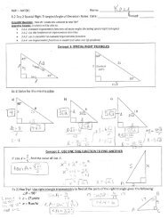 6.2 Day 2 Special Right Triangles and Angle of Elevation Notes KEY ...