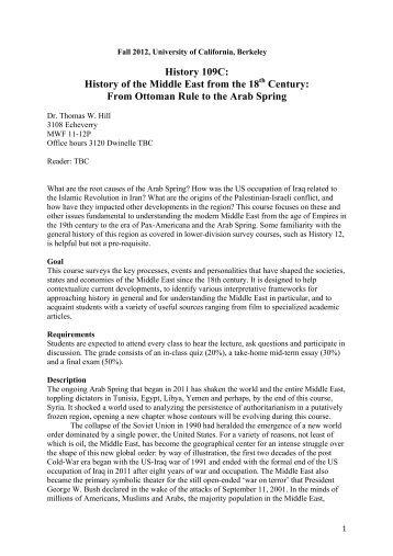 109C Syllabus T W Hill Final.pdf - Department of History, UC Berkeley