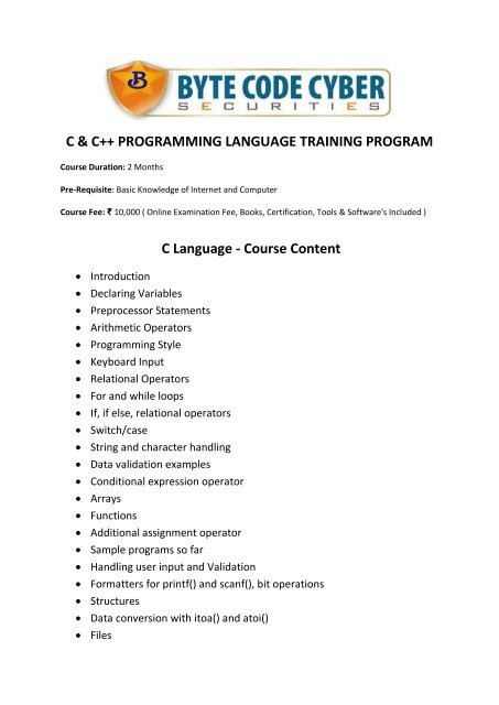 C Language - Course Content - Byte Code Cyber Security