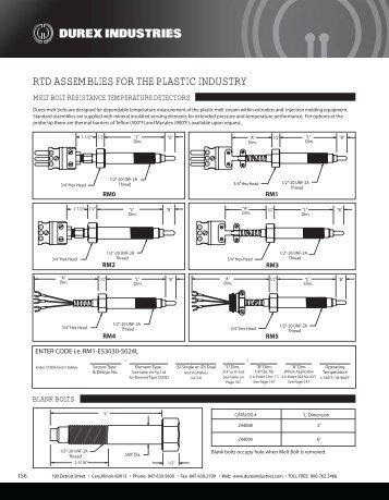 Melt Bolt RTD Catalog / Specifications - Durex Industries