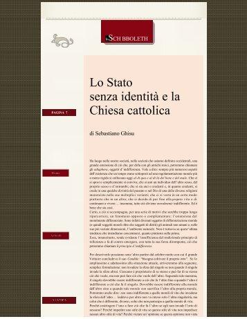 Lo Stato senza identità e la Chiesa cattolica di ... - Agoramarche