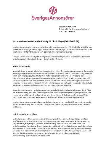 Remissvar SOU 2013 50 Om alkohol och tobak - Sveriges Annonsörer