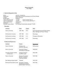 Auburn University P & T Vitae I. Standard Biographical Data Name ...