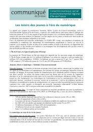 Les loisirs des jeunes à l'ère du numérique - CESER Ile-de-France