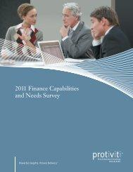 2011 Finance Capabilities and Needs Survey - Computerworld