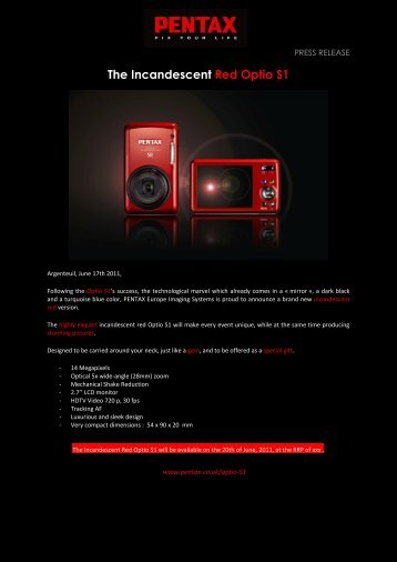 The Incandescent Red Optio S1 - Pentax
