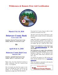 Wilderness & Remote First Aid Certification Delaware County Bank