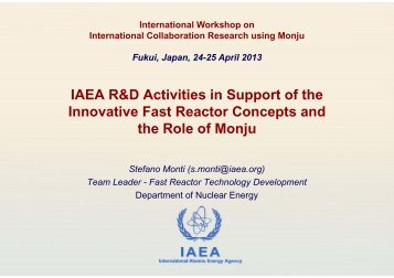 IAEA R&D Activities in Support of the Innovative Fast Reactor ...