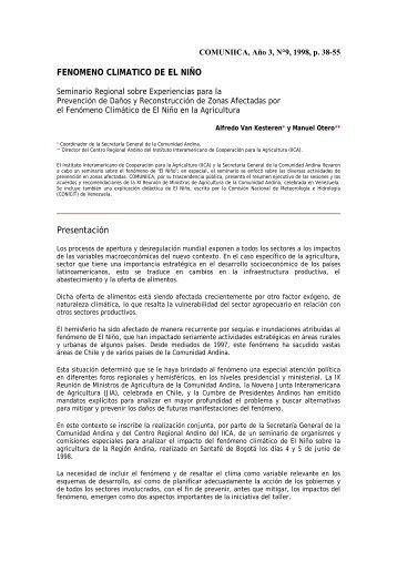 FENOMENO CLIMATICO DE EL NIÑO Presentación - Instituto ...