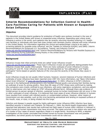Interim Recommendations for Infection Control in Healthcare ...
