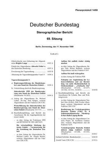 Stenographischer Bericht 69. Sitzung - Deutscher Bundestag