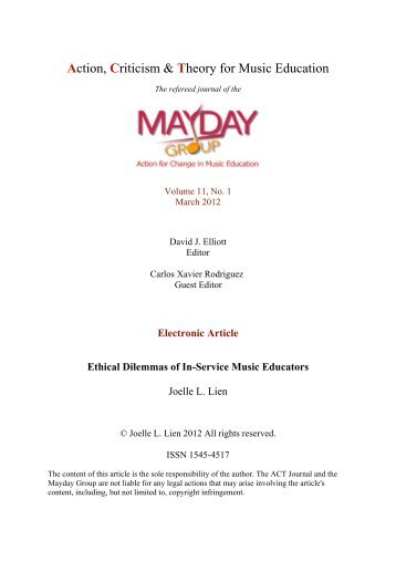 Joelle L. Lien - ACT Journal - MayDay Group