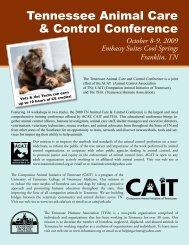 Tennessee Animal Care & Control Conference - The University of ...