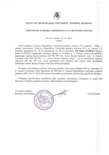Akcinė bendrovė bankas SNORAS AKCIJŲ PROSPEKTAS