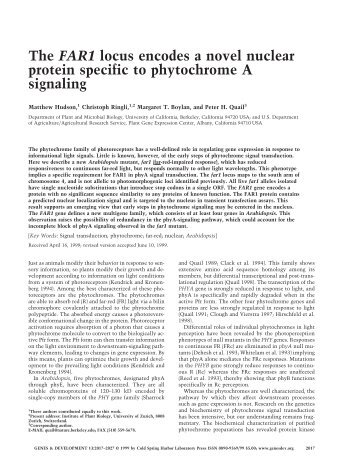 The FAR1 locus encodes a novel nuclear protein specific to ...