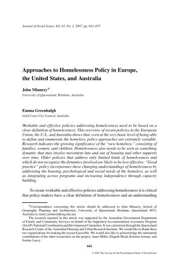 Approaches to Homelessness Policy in Europe, the United States ...