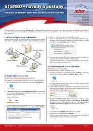 Návod pro instalaci síťové verze STEREO 20 - Ježek software